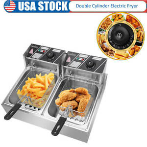 Stainless Steel Double Cylinder Electric Fryer Chicken Frying 5000w 12 7qt 12l