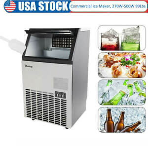 Stainless Steel Commercial Ice Maker Built in Under Counter Freestand 99 Lb 24hr