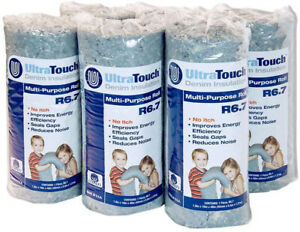 Ultratouch Denim Insulation Roll Sealing Gaps Sound Proof R 6 7 16 X 48 6 Pack