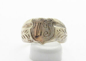 Post Medieval Period Silver Ring With Inicials 18 Century