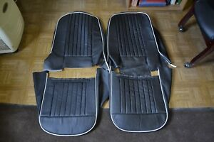 Triumph Tr4 Black W White Piping Leather Seat Covers Custom Made From B 20877ct
