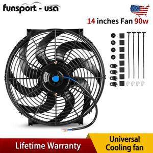 14 Inch 90w Slim Cooling Fan Push Pull Electric Radiator Reversible Mount Kit