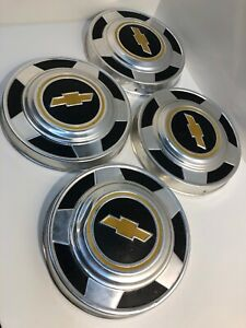 Set Of 4 Chevy Truck 73 87 Dog Dish Hubcaps Yellow Bow Tie Good Condition