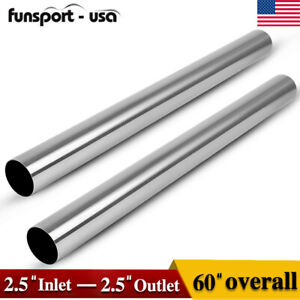 2pc 2 5 Od 5 Ft Stainless Steel T 409 Straight Exhaust Piping Tube Pipe Tubing