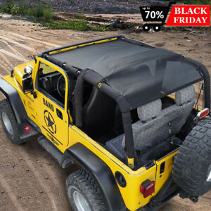 Roof Top Mesh Sunshade Bikini Top Cover Uv Protection For Jeep Wrangler Tj 1997 Fits More Than One Vehicle