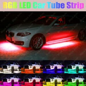 8 Colors Led Strip Under Car Tube Underglow Underbody System Neon Light Kit 4x