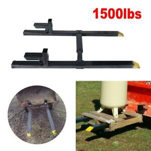 1500lbs Tractor Bucket Clamp On Pallet Forks Loader W Adjustable Stabilizer Bar