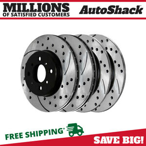 Front And Rear Drilled Slotted Brake Rotors For 1992 1999 2000 Honda Civic