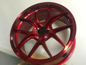 20 Staggered Candy Red Staggered Rims Wheels Fits Jdm 5x114 3 New