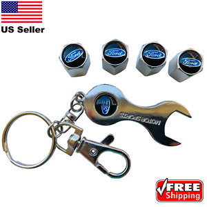 4x Ford Wheel Tire Caps Air Valve Stem Cover With Keychain Wrench