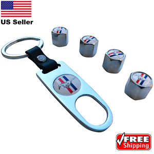 4x Ford Mustang Wheel Tire Caps Air Valve Stem Cover With Keychain