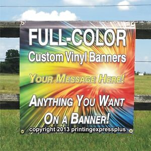 4 X 4 Custom Vinyl Banner 13oz Full Color Free Design Included