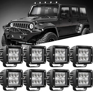 8x 3inch Led Flood Work Lights Driving Pods Off Road Atv Ute Suv Square 2400lm