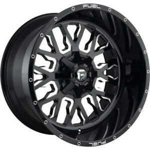 22x12 Black Milled Wheels Fuel Stroke D611 8x6 5 8x165 1 44 Set Of 4
