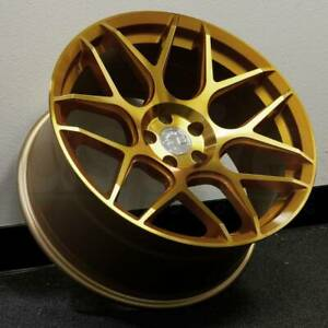 19x9 5 Gold Machined Face Wheels Aodhan Ls002 Ls2 5x120 35 Set Of 4
