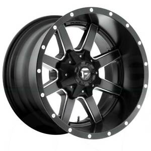 22x10 Black Milled Wheels Fuel Maverick D538 5x5 5x127 5x135 24 Set Of 4