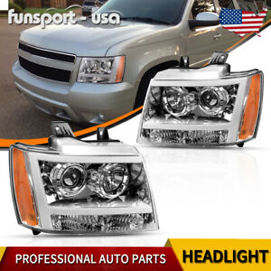 For 07 14 Chevy Suburban tahoe Led Tube Drl Projector Headlight lamp Assembly