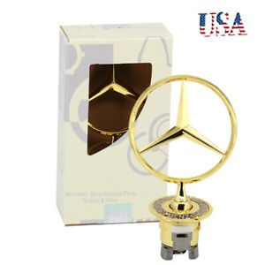 1 Gold Chrome Star Logo Emblem Badge For Mercedes Benz W210 W202 W203 C200 W211