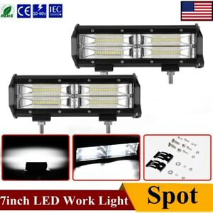2pcs 7 Inch 12v 960w Led Work Light Bar Spot Pods Driving Off Road Tractor 4wd