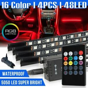 4pcs 48 Led Car Interior Atmosphere Neon Lights Strip Music Control Ir Remote