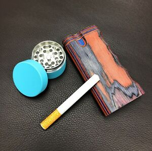 4 Colorful Wood Dugout Neon Grinder With Pipe Set Ez Grip Tobacco Herb Usa Sell