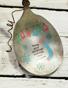 Hang Your Stockings Say Your Prayers Antique Spoon Silverware Ornament