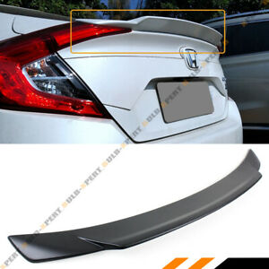 For 2016 19 Honda Civic 4dr Sedan Matt Blk Jdm Small Duckbill Trunk Spoiler Wing