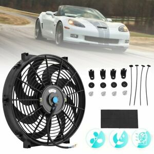 14 Inch Universal Electric Radiator Cooling Fan Thermostat Mount Kit Black Lu