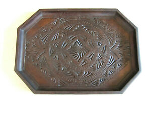 Antique Dutch Frisian Chip Carved Wooden Tray 14 Bar Desk Vanity Early 1900 S