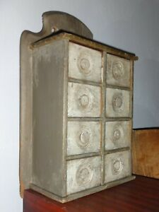 Antique 8 Drawer Spice Cabinet Box Cupboard Old Gray Paint Apothecary Aafa