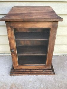 Antique Wood And Glass Counter Top Tower Display Case L14 75 X H18 X W8