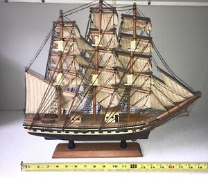Vintage Clipper Ship 1827 Wood Model Sail Boat Nautical Office Man Cave Decor
