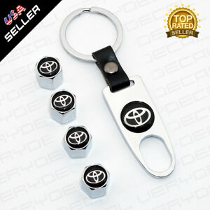 Universal Trd Chrome Car Wheel Tire Valves Dust Stems Air Caps Keychain Emblem