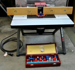 Rousseau 3110 Bench Stand With Bosch Variable Speed Router Bit Set