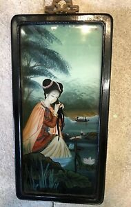 Antique Japanese Chinese Reverse Painting On Glass Woman