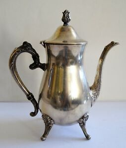 Vintage Leonard Silver Plated Footed Ornated Coffee Tea Serving Pitcher With Lid
