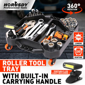 Mechanic Roller Tool Tray With Led Torch Handy Parts Pan Swivel Wheel Organizer