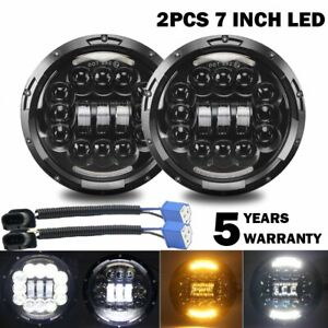 2x180w Dot E mark 7inch Round Black Cree Led Headlight Hi lo Beam Drl Turn Lamp