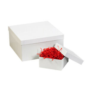 Packaging Supplies Fibreboard White Deluxe Gift Box Bottoms Usa Case Of 50