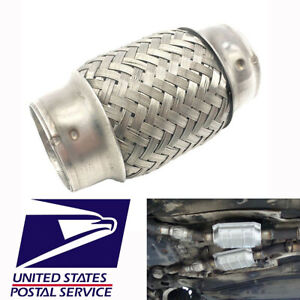 1pc 1 5 Car Modified Exhaust Pipe Stainless Steel Double Braid Flexible Silver