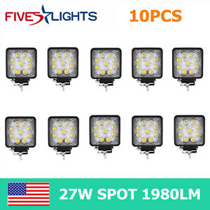 10x 27w Led Work Light Spot Fog Lamp Tractor Boat Offroad 5d Opticals Cube Pods