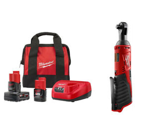 Milwaukee M12 Cordless 3 8 Ratchet 2457 20 Charger 2 Batteries Charger Bag