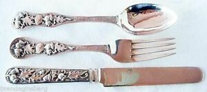 Chinese Export Silver Cutlery Canton For Child Knife Fork Spoon Antique Hch 4571
