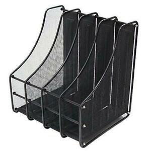 Viz pro Desktop Organizer mesh File Magazine Holder 4 Compartments Black