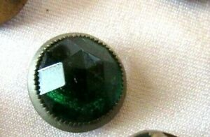 Antique Green Faceted Glass Dome Waistcoat Button Silver Metal Rim 1 2