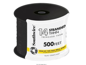 Electrical Wires Stranded Cu Thhn Wire Single Conductor Black 500ft 14 Gauge New