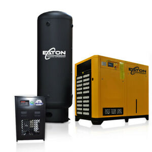75hp Rotary Screw Air Compressor With Dryer 660 Gallon Pkg 3 Phase Fixed Speed