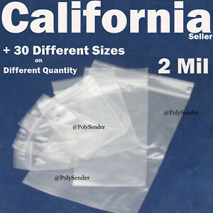 Clear 2 Mil Zip Seal Lock Able Bags Reclosable Poly Plastic Reusable Baggies