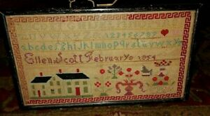 Antique 1854 Signed Cross Stitch Sampler Alphabet Numbers House Heart Hand