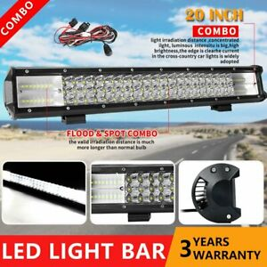 20inch Cree Led Light Bar Combo Work Driving Truck Offroad Suv Atv 12 24v wire
